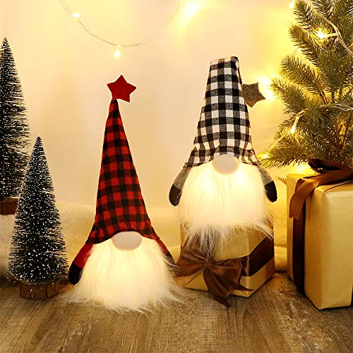 HAUMENLY Swedish Christmas Gnome Lights, Scandinavian Tomte 6 Hours Timer, Home Party Decoration - 11x4 Inches, Pack of 2