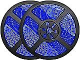 32.8ft Blue LED Strip Lights, Waterproof IP65 Led Strip SMD2835 Dimmable 600LEDs 12V Blue LED Strip Cuttable Under Cabinet, Bar, Bedroom, Blue LED Lights Holiday Decoration Lighting LED Tape 2 Rolls