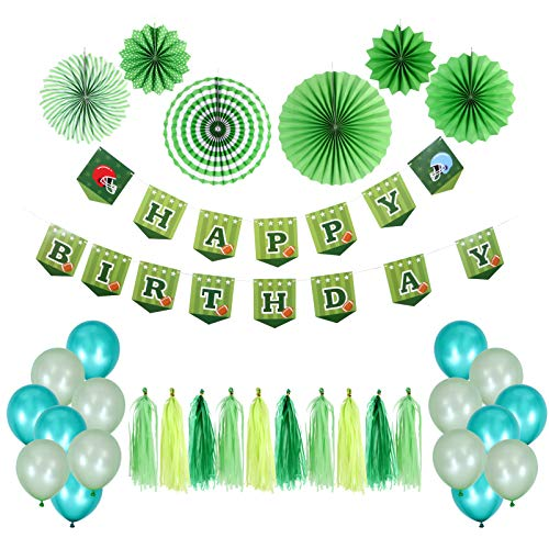 Amosfun Birthday Party Decorations Set Include Football Happy Birthday Banner Bunting Garland Latex Balloons Paper Fans Tsassels for Kids Birthday Baby Shower Party Favors