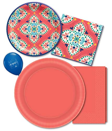 Coral Pink Paper Plates & Napkins- Serves 16 with Disposable Dinner Plate, Luncheon Napkin, Dessert Plate & Beverage Napkin