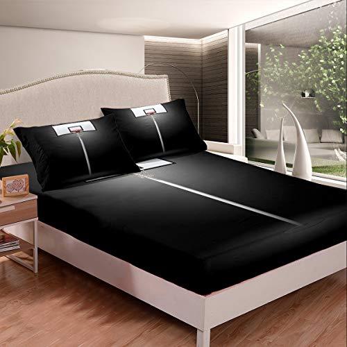 Loussiesd Juego de cama de microfibra para niños, deportes, juego de baloncesto y juego de sábanas de microfibra, 2 unidades, tamaño individual, Balck