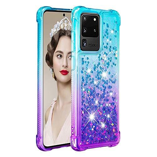 Molg Compatible con Funda Samsung Galaxy J4 Plus Serie de Degradado Flotante Glitter Brillante Suave TPU Bumper Silicona Antigolpes Funda Protectora-Azul Arriba y Morado Abajo