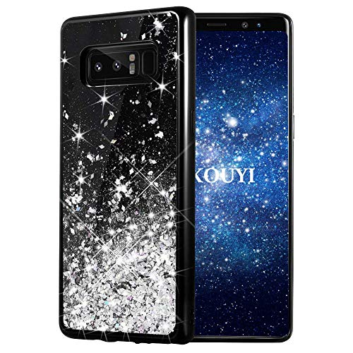 Preisvergleich Produktbild KOUYI Galaxy Note 8 Hülle Glitzer,  Fließen Flüssig Glitzer Mode 3D Bling Dynamisch Silikon Flexible TPU Kreativ Shiny Glitter Cover Beschützer für Samsung Galaxy Note 8 (Silber)