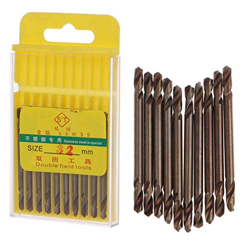 Drill Bit Set Drill Set, Cobalt M35 HSS Drill Bit Set 10 Piece 1/8 Inch Double Ended Drill Bits Set Power Tools