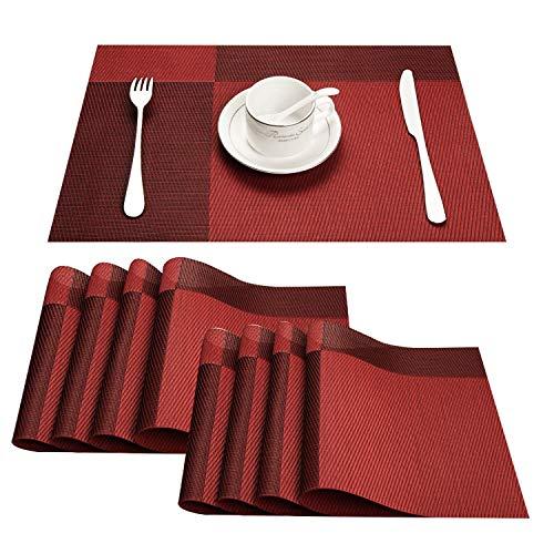 Topfinel Tischsets Abwaschbar PVC 8er Platzsets Abgrifffeste Hitzebeständig Platzmatten mit Edler Optik für Küche mit Farbverlauf Rot 30x45