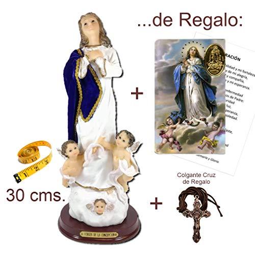 Figura Inmaculada Concepción 30 cms. en Resina, Pintada a Mano, con Capa Tipo Terciopelo. De Regalo una Estampa y una Cruz en Colgante.