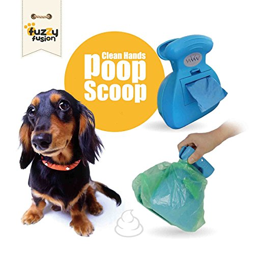 Dog Poop Scoop with Waste Bag Dispenser - Blue, 10 Refill Bags and Expandable Silicone Body - Compact Portable Design for Easy Storage by Fuzzy Fusion (A Grand Fusion Company) (Blue)