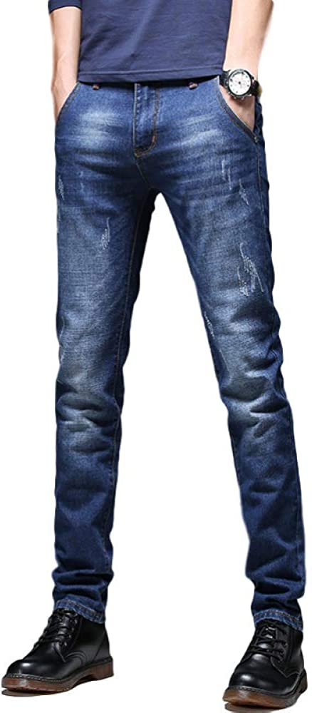 Men's Trousers Solid Color Fashion All-Match Casual Stretch Slim Fit Casual 31 Blue