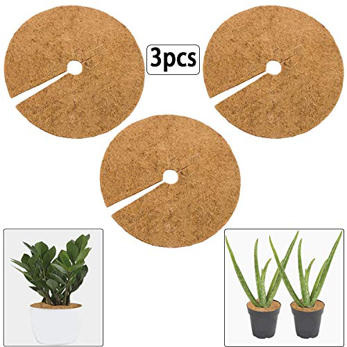 ZeeDix 3 Pcs Coconut Fibers Mulch Ring Tree Protector Mat,11.8 Inch Natural Coco Coir Tree Protection Weed Control Mats,Tree Ring Mats Tree Planter Disc Plant Cover