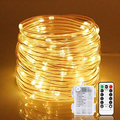 Zorara LED Lichterschlauch außen, 10M 100 LEDS Lichtschlauch mit Fernbedienung, 8 Modi Wasserdicht LED Lichterkette Batteriebetrieben warmweiß Röhrenbeleuchtung für Deko, Party, Feier, Hochzeit
