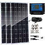 AUECOOR Kit de panel solar monocristalino de 300 W, 3 unidades, 100 W, 12 V, módulo de panel solar de alta eficiencia con controlador de carga de 30 A para RV Marine Boat Off Grid