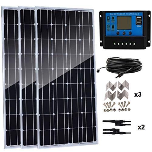 AUECOOR 300 Watt monokristallines Solarpanel-Set 3 Stück 100 W 12 V Hocheffizientes Solarmodul mit 30 A Laderegler für Wohnmobil und Boote
