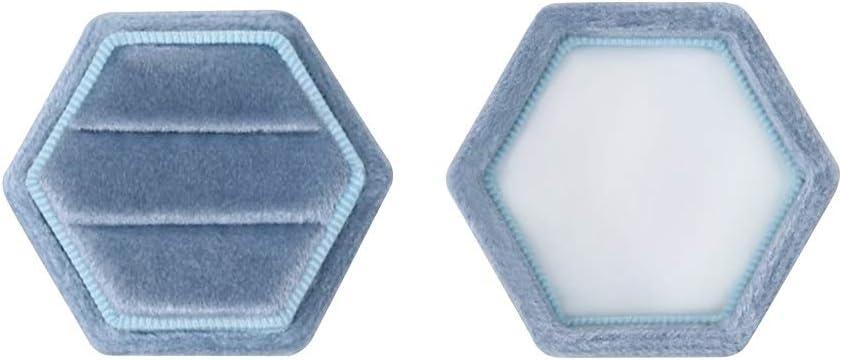 Hexagon Velvet Double Slots Ring Heirlooms Box Engagement Ring Box Brown