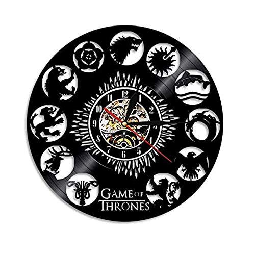 Smotly Vinilo Pared Reloj, Juego de Tronos Registro Tema de Reloj de Pared, Arte Hecho a Mano Creativa de Color la Noche de luz 7-Color de la Pared Regalo del Reloj,Without Light 2,A1