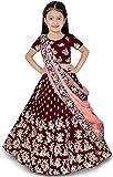 eneric Girl's Jute Cotton Semi-stitched Lehenga Choli (Tfp 145_Maroon_4-5 Years)