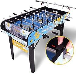 WIN.MAX Vormontierter Klappbarer Tischfussball, Faltbarer Kompakter Tischfußball, Kickertisch/Tischkicker, Montagefrei, Einfach Zu Verstauen, 121 x 61 x 81 cm
