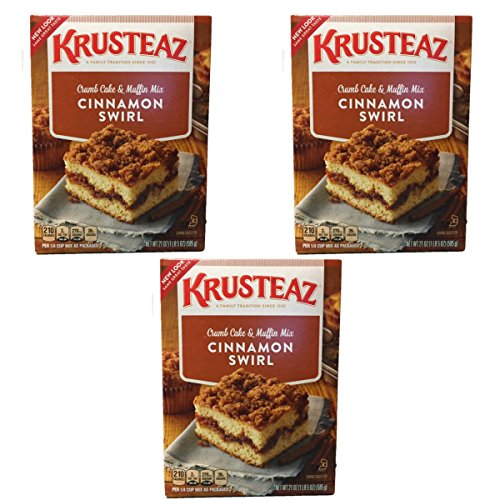 Krusteaz Cinnamon Swirl Crumb Cake & Muffin Mix, 21 OZ (Pack of 3)