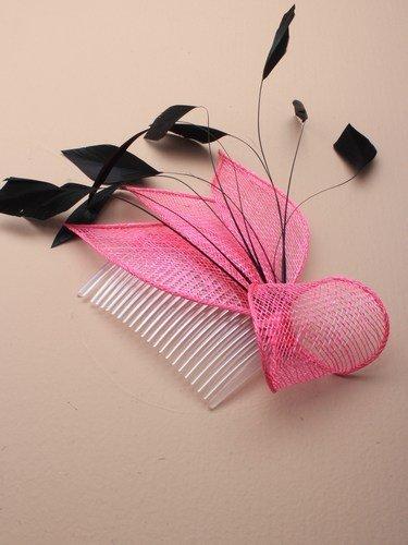 4314 Net & chapeau bibi à plume noir Clair Orange Fluo Rose Jaune Vert Mariage - Rose