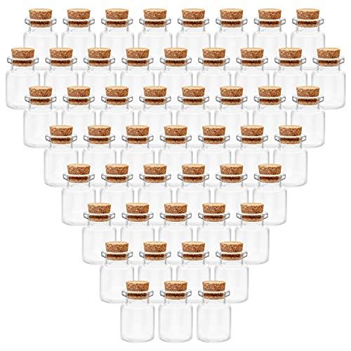 BELLE VOUS Mini Botellas de Cristal con Tapón de Corcho (Pack de 100) 5 ml - Mini Frascos Cristal Pequeños Herméticos y Redondos para Regalos de Bodas, Fiestas, Especias Cocina y Mermelada