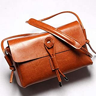 Women's Bag Fashion Leather Small Square Bag Ladies Shoulder Casual Bag Handbag Handbag Female Bag Handbags (Color : Brown, Size : S)