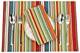 Ruvanti Placemats for Dinning Table .100% Cotton Woven (13x19 ) Place mats Set of 6. Red & Fall Multi Stripe Woven Table Mats Farmhouse Spring Cloth Tablemats for Christmas/Thanksgiving Dinners.