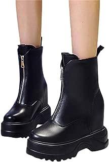 BALABA Women Waterproof Platform Solid Color Zipper High Heels Boots,Platform Shoes