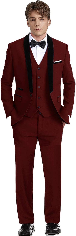 Teens Blazer Party Outfit Men Suits Slim Fit 3 Piece Burgundy Tuxedos for Men