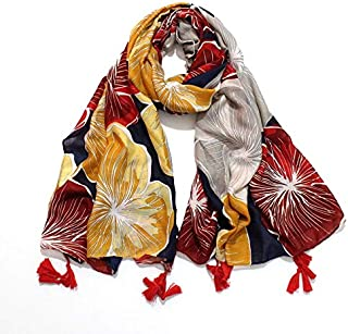 DIEBELLAU Summer Flower Satin Cotton and Linen Scarf Female Beach Travel Warm Super Large Shawl Warm Scarf (Color : Orange, Size : 190cm)