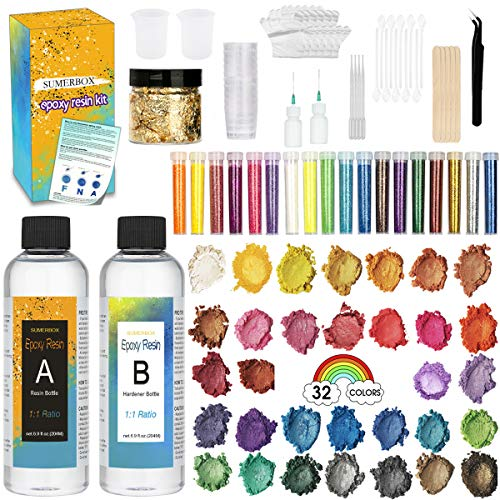 Product Image of the SUMERBOX Clear-Cast-Epoxy-Resin-Kit, Cast Resin 13.8 Ounce, 32 Assorted Colors Mica Powders, Measuring Cups, Tip Applicator Bottles, Gloves, Pipettes, Mixing Sticks, Clear Spoons