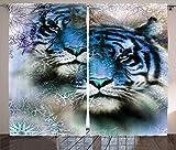 ABAKUHAUS Animal Cortinas, Tigres de Safari, Sala de Estar Dormitorio Cortinas Ventana Set de Dos Paños, 280 x 175 cm, Azul Blanco y Negro