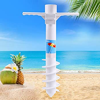 Ohuhu Beach Umbrella Sand Anchor Stand Holder with 5-Spiral Screw One Size Fits All Beach Umbrella for Sand Heavy Duty Wind