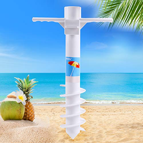 Ohuhu Beach Umbrella Sand Anchor Stand Holder with 5-Tier Screw, One Size Fits All Safe Stand for Strong Wind