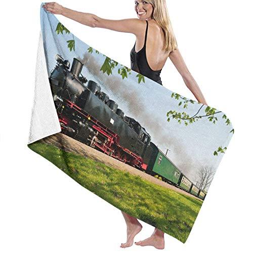 Spetlye Large Microfiber Toalla de baño Blanket,Historical German Steam Train Passes Through The Fields,Bath Sheet Beach Towel for Family Hotel Travel Swimming Sports,52' x 32'