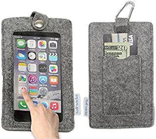 """Tainada 4.7-5.2"""" Multi-Purpose Felt Smartphone Pouch with Clear Window Touch-Screen Function and Card Holder for iPhone X..."""