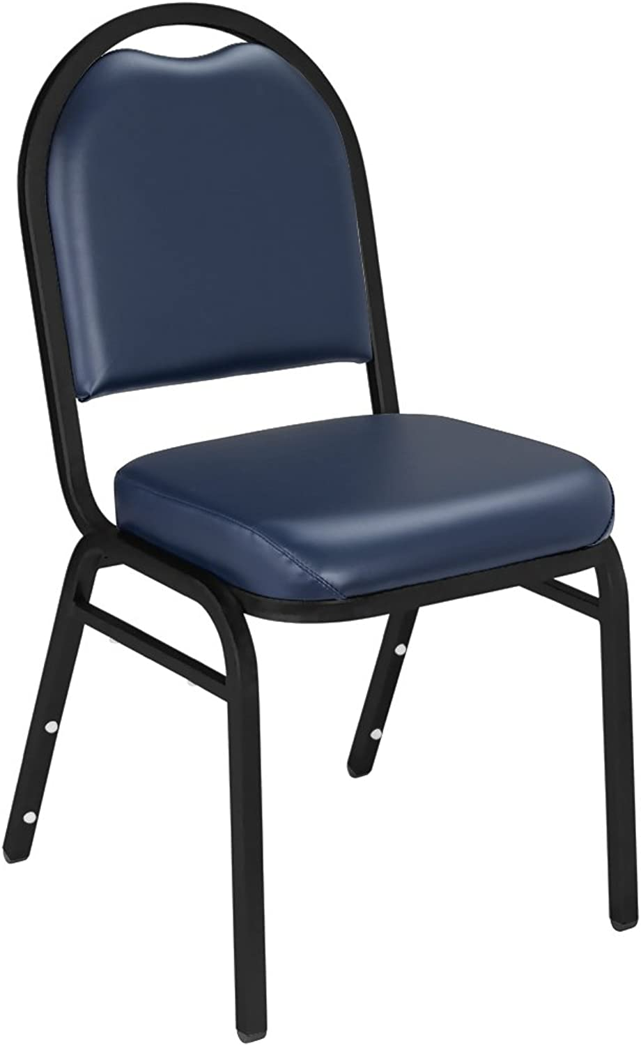 NPS 9204-BT Vinyl-upholstered Dome Back Stack Chair with Steel Black Sandtex Frame, 300-Pound Weight Capacity, 18-Inch Length x 20-Inch Width x 34-Inch Height, bluee