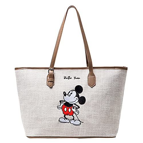 Mickey Mouse Einkaufstasche Shopper Disney Umhängetasche Große Kapazität Mickey Maus Handtasche Zipper Cartoon Tasche Schultertasche Casual Damen (Mickey Mouse)