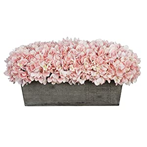House of Silk Flowers Artificial Hydrangeas in Grey-Washed Wood Ledge