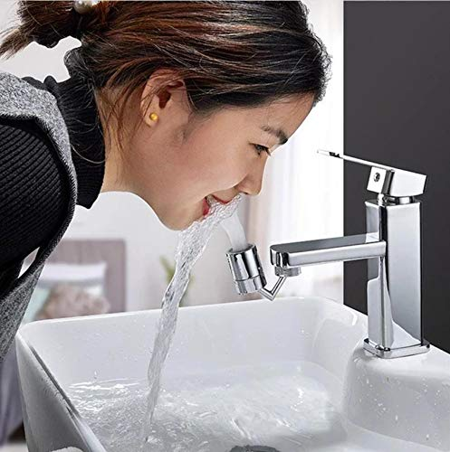 Universal Splash Filter Faucet, 720° Rotatable Faucet Sprayer Head O-Ring Faucet Filter, 4 Layers Net Filter Double Gaskets Leakproof Faucet Sprayer, for Kitchen Bathroom Toilet (outer & Inner tooth)