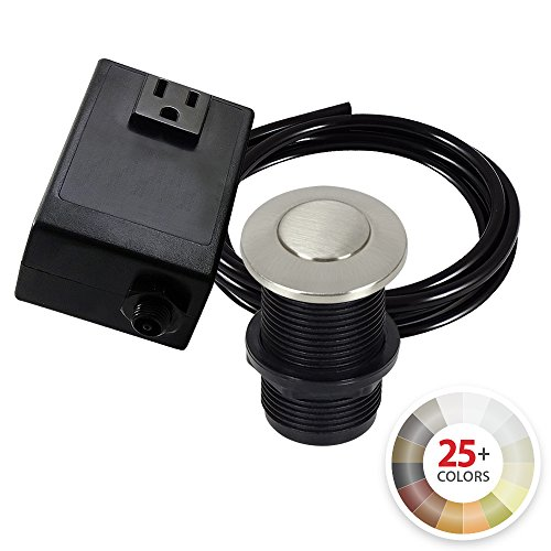 Single Outlet Garbage Disposal Turn On/Off Sink Top Air Switch Kit in Satin Nickel. Compatible with any Garbage Disposal Unit and Available in 25+ Finishes by NORTHSTAR DÉCOR. Model # AS010-SN