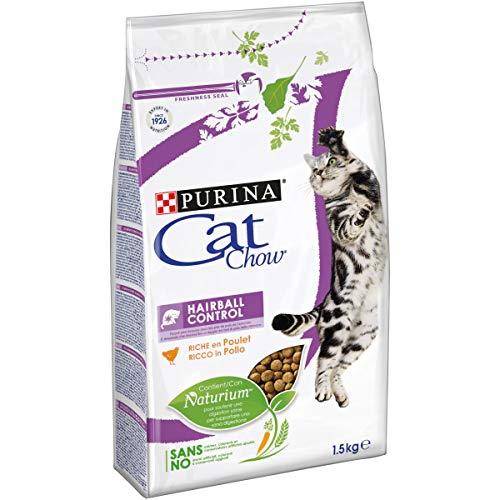 Purina Cat Chow Hairball Control Gatto Crocchette Ricco in Pollo, 6 Sacchi da 1.5 kg