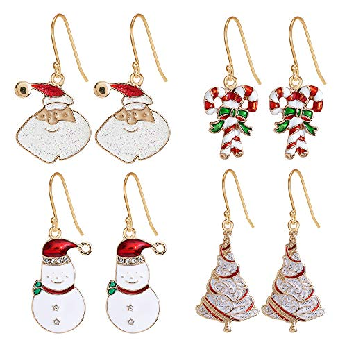 Christmas Drop Dangle Earrings Sets Long Jingle Bell Earrings For Women Xmas Jewelry Christmas Snowman Santa Claus Christmas Tree Flamingo Penguin Earrings