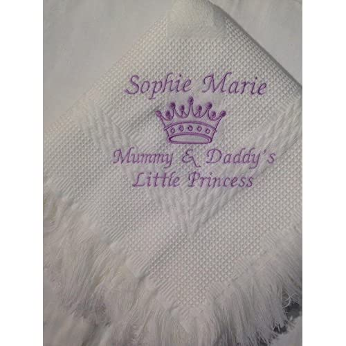 prince princess  BOYS GIRLS WRAP BLANKET 120 x 120cms BABY SHAWL personalised
