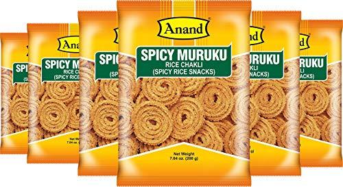 Anand Spicy Muruku (Rice Chakli/Chakri), Crunchy Indian Snack, Pack of 6 x 7 oz pouches (Best South Indian Restaurant In Orlando Fl)