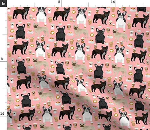 Spoonflower Fabric - French Bulldogs Coffee Cute Frenchies Best Bulldog Frenchie Dog Dogs & Printed on Fleece Fabric by The Yard - Sewing Blankets Loungewear and No-Sew Projects