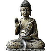 素朴なグレー仕上げの仏像、釈迦牟尼仏置物着席8.5インチ瞑想