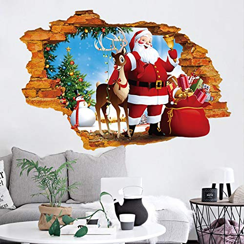 ZYUN Merry Christmas 3D Wall Stickers Santa Claus Removable Xmas Shop Window Vinyl Decal Murals For Bedrooms Home Decorations