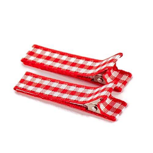 Anton & Sophie 1 Paar hochwertige Haarspangen rot kariert - mit Stoff bezogen - KEIN ZIEPEN - Viele Variationen - Made in Gemany (rot kariert)