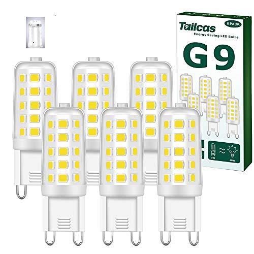 Bombilla G9 LED 4W, Blanco Frío 6000K, Equivalente a 40W Lampara Halógena, 400LM, 360° de Haz Omnidirectional, Sin Parpadeos, No Regulables AC220-240V, Pack de 6 Unidades