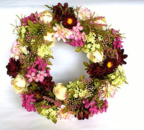 P.Shop Blütenkranz Blumenkranz Wandkranz Türkranz Dahlien Ø ca.38 cm