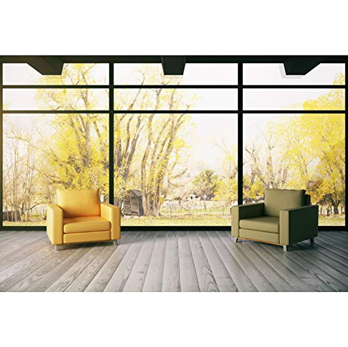 YongFoto 10x8ft French Windows Scenery Backdrop Living Room Decoration Photography Background Sofa Wooden Floor Yellow Trees Indoor Party Banner Kids Adult Portrait Photo Studio Props Wallpaper
